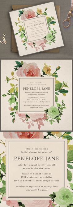 Printable Bridal Shower Invitation // Rose Garden Shower Invitation // by Oak House Printable Designs