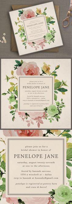 Printable Bridal Shower Invitation // Rose Garden Shower Invitation // by Oak House Printable Designs