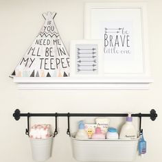 DIY supply shelf/ diaper changing station (Got shelf and pails from ikea) #DiaperChangingStation