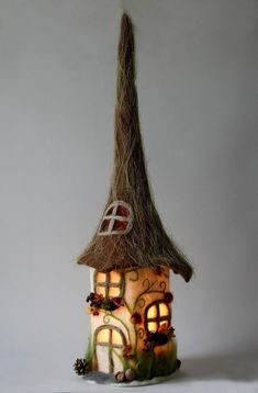 You can see a lamp that was felted using the wet felting method. The lamp consists . Clay Fairy House, Gnome House, Fairy Garden Houses, Wine Bottle Art, Wine Bottle Crafts, Diy Bottle, Felt House, Clay Fairies, Felt Fairy