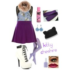 Inspired by Kitty Cheshire from Ever After High by crazydirectionergirl on Polyvore featuring Annie Greenabelle, River Island, Falke, My Little Thing, Amanda Wakeley, Eugenia Kim and Essie