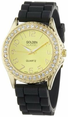 """Golden Classic Women's 2289_gold/black """"Love Affair"""" Clear Rhinestone Black Silicone Watch Golden Classic. $19.80. Gold dial with gold hour markers and hands. Water-resistant to 99 feet (30 M). Highest standard Japanese parts Quartz Movement. Black silicone jelly strap with an adjustable gold buckle. Round gold bezel with rhinestone accents. Save 45% Off!"""