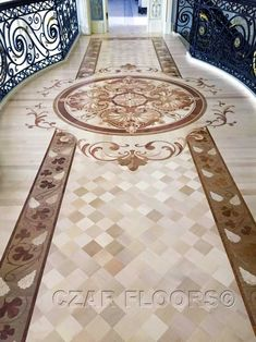Picture of Bridge with custom wood design, ID470. Example of custom floors, medallions, inlays, borders and parquet, marble waterjet medallions