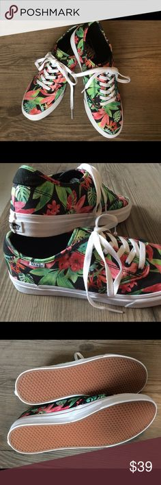 Vans Tropical Print Sneakers New, never worn. Cheerful tropical print with black background and white laces. Super fun! No box. Vans Shoes Sneakers