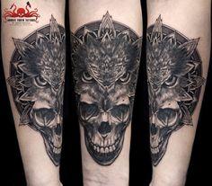 Skull Owl Mandala Tattoo by Mehdi Rasouli broken tooth tattoos Tooth Tattoo, Mandala Tattoo, Teeth, Black And Grey, Owl, Skull, Tattoos, Tatuajes, Owls