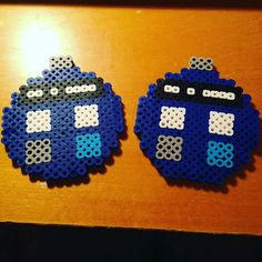 Tardis Doctor Who Christmas ornaments perler beads by cutesyclay101