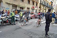 The riders in the narrow streets of Alicante during the 2017 La Vuelta Valencia.