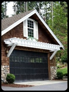 Over The Garage Pergola Over The Garage - wonder if we could do this over at least the detached garage?Pergola Over The Garage - wonder if we could do this over at least the detached garage? Garage House, Garage Doors, Garage Exterior, House Roof, Exterior Paint, Garage Windows, Sunroom Windows, Stone Exterior, Garage Art