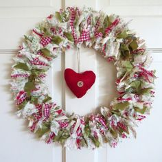 Country Style Fabric Rag Wreath with red heart decoration by HeartandDesignDecor, £24.99