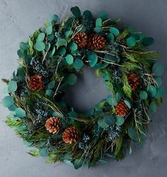 Christmas Wreath with Greenery, Eucalyptus, & Pinecones from Terrain Home & Garden White Wreath, Diy Wreath, Flower Decorations, Christmas Decorations, Outdoor Wreaths, Natural Christmas, Christmas Diy, Greenery Wreath, Holiday Wreaths