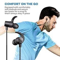 TaoTronics Bluetooth In Ear Headphones Wireless Earbuds Sports Magnetic Earphones with Built-in Mic (Sweatproof with IPX5 Splash Proof Rating, aptX Stereo, Up to 7 Hours Talk Time, Ceramic Antenna)