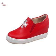VogueZone009 Femme Rond Tire Pu Cuir Mosaïque à Talon Haut Chaussures Légeres, Rouge, 42 - Chaussures voguezone009 (*Partner-Link)
