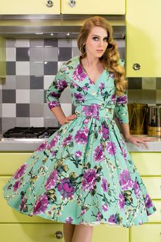 Pinup Couture 1950's Style Birdie Dress in Mint and Gray Floral | Pinup Girl Clothing