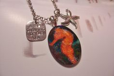 Orange Seahorse - glass/starfish/charm necklace - summer jewelry, vacation, beach, cruise on Etsy, $16.00