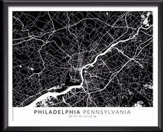 Philadelphia Map with Coordinates - Ideate Create Studio