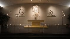 #vtwmc | Basic Candlelight Package in Nickel with Tea Lights on Altar Railing | War Memorial Chapel