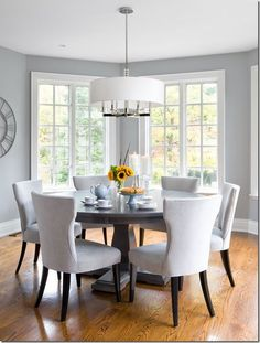 coventry gray HC-169 Benjamin Moore. Gray walls, white furniture, chrome accents and pops of color for my modern home office!