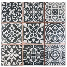 The SomerTile 13x13-inch Faventia Nero Ceramic Floor and Wall Tile features six squares, floral designs with imitations of the scuffs and spots, red porcelain and faded grays and black. Bring rustic charm to your space with this easy-to-maintain look.