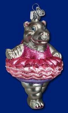 Twinkle Toes Glass Hippo Ballerina Old World Christmas Ornament