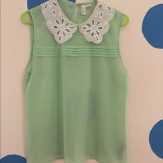 Sheer Top with Scallop Collar Green sheer top with white scallop collar. Tops Blouses
