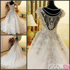 Gorgeous A-line V-Neck Cathedral Train Lace and rhinestone Luxury Wedding Dress - Luxury Dresses - Wedding Dresses - CDdress.com