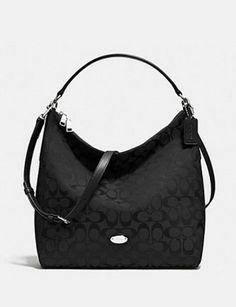 7d5180f8068b Coach Celeste 12Cm Convertible Hobo In Signature Canvas Black Handbags