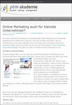Die PTM-Akademie fragt in einem Blogartikel: Online Marketing auch für kleinste Unternehmen? malerdeck darf Beispiel sein :-)