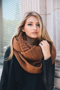 This gorgeous Chunky Knit Infinity Scarf is the perfect accessory for Fall……