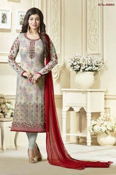 Ayesha Takia Featuring Georgette Multi Color Straight Cut Salwar Kameez With Embroidery Work