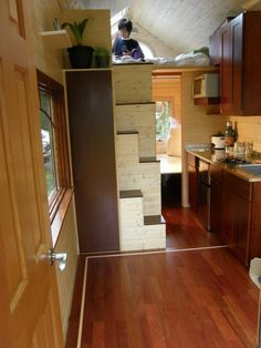 Step Ideas. Tall step could be a broom closet. Bottom steps could be shelving...