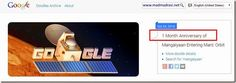 "#doodle on #mangalyaan 1 month in #mars orbit - only Google calls it 1-Month-""Anniversary""! http://j.mp/1FM8eAA"
