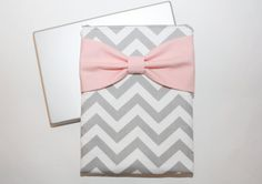 MacBook Pro or Air, Laptop Case / Sleeve - Gray Chevron with Pink Bow- Double Padded on Etsy, $65.00
