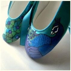 #Wedding #Shoes #Ballerina #Flat  #peacock #Apple #Teal Lace by norakaren, $225.00