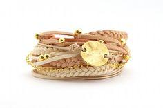 Wrap Bracelet Peach Pale Pink Boho Bracelet Pale by cardioceras, $27.00