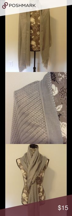 Silver weaved scarf/shawl Silver scarf/shawl with weaved pattern. Fringed on both ends. 100% polyester. Approximately 73 inches by 27 inches. Tiny snag, see last pic. Charming Charlie Accessories Scarves & Wraps