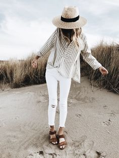 easy breezy white jeans beach style