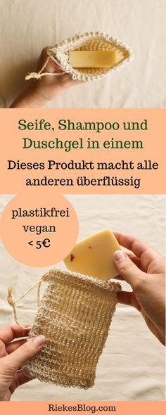 Plastikfreie Naturkosmetik: 3 in 1 unter This 3 in 1 Zero Waste product is perfect for traveling but also great for a plastic-free bathroom! With only one soap you have shampoo, shower gel and hand K Om, Plastic Packaging, Travel Kits, Natural Cosmetics, Organic Beauty, Diy Beauty, Luxury Beauty, Textiles, Shower Gel