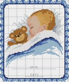 schema punto croce quadretto nascita | Hobby lavori femminili - ricamo - uncinetto - maglia