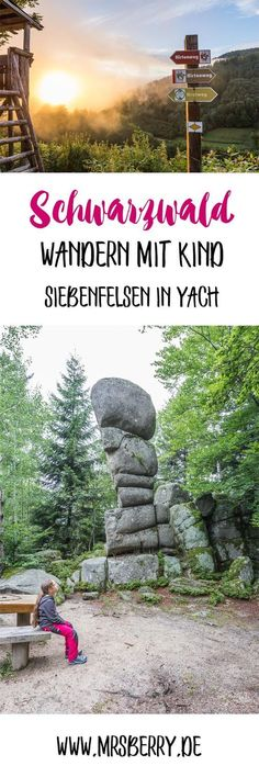 Schwarzwald: Wandern mit Kind zu den Siebenfelsen - via MrsBerry.de   Der Siebenfelsen ist eine bizarre Felsformation in der Nähe des Elzacher Ortsteils Yach. Viele Wanderwege führen dort vorbei. Wir haben den magischen Ort mit Kind besucht.