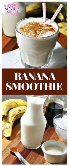 """How to make Banana Smothie │Fruits shakes (or """"licuados,"""" as we call them) are a verypopular drink in Mexico, especially for breakfast. Easy Smoothies, Smoothie Drinks, Fruit Smoothies, Breakfast Smoothies, Breakfast Recipes, Mexican Drinks, Mexican Food Recipes, Healthy Recipes, Yummy Recipes"""