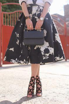 Skirt: Tibi. Sweater: Rag and Bone. Shoes: Sophia Webster. Bag: M2M. Nails: Deborah Lippmann 'Flowers in Her Hair'. Jewelry: RueGabon, Cartier, Hermes