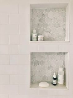 Added storage is added in the shower with a recessed niche. The light gray marble hexagon tile adds character. The shelves were constructed with pieces of marble. Vignette styled with Mario Badescu and French Girl products. Bathroom Grey, Bathroom Renos, Bathroom Renovations, Office Bathroom, Condo Bathroom, Bathroom Marble, Washroom, Bathroom Subway Tiles, Ideas For Small Bathrooms