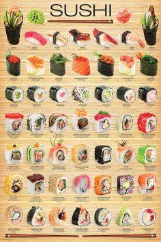 "Eurographics amo ""sushi"" cartaz, Poster Sushi,24 36, Modelo 2015,multi-color, Sushi"