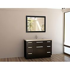 Moscony 48 Inch Single Sink Vanity Set By Design Element. Constructed Of  Solid Oak Wood, This Vanity Set Includes A Quartz Counter Top, Rectangular  White ...