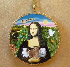 Handmade Ornament: It's a Mona Lisa Christmas with Mona and her three adorable Guinea Pigs  - designed / made by artist - auction ends Dec. 30, 2015 at 9:30 a.m.