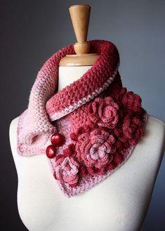Crochet Inspiration for Neckwarmer / Scarf / Cowl: Rose Bush dusty rose peach red romantic design by VitalTemptation Poncho Crochet, Love Crochet, Crochet Scarves, Beautiful Crochet, Crochet Clothes, Crochet Flowers, Crochet Collar, Silk Scarves, Irish Crochet