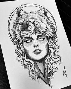 Wolf Tattoo Design, Tattoo Design Drawings, Art Drawings Sketches, Tattoo Sketches, Tattoo Designs, Tattoo Ideas, Wolf Tattoos, Leg Tattoos, Body Art Tattoos