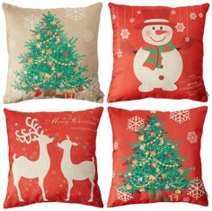 Homar Set of 4 Christmas Theme Decorations Cotton Linen Pillowcase Throw Pillow Case Cushion Cover with Hidden Zipper Perfect for Home Decorative >>> Continue to the product at the image link-affiliate link. #PillowCovers