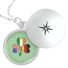 Locket with a shamrock. Shamrock shows a flag in each leaf: USA, Ireland and Germany. Lovely and thoughtful gift for your German Irish American any time of year.