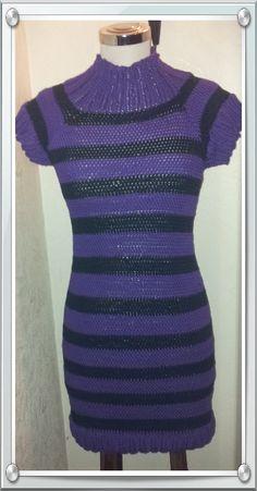 Striprendr Knit Or Crochet, Knitting Ideas, High Neck Dress, Short Sleeve Dresses, Pattern, Design, Fashion, Turtleneck Dress, Moda
